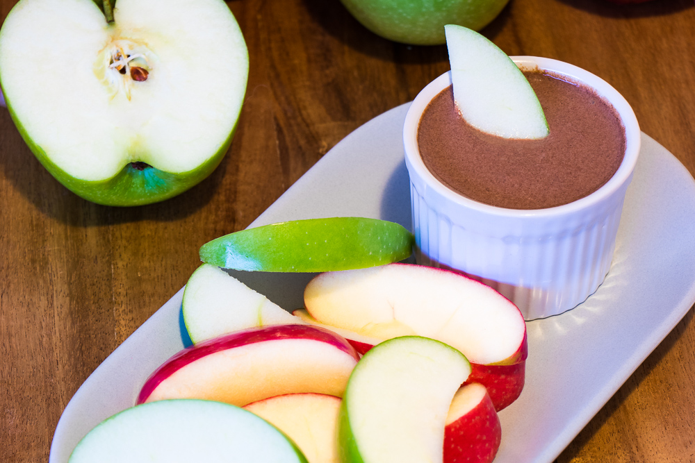 Red Rich Fruits Apples with Guilt-Free Chocolate Dip