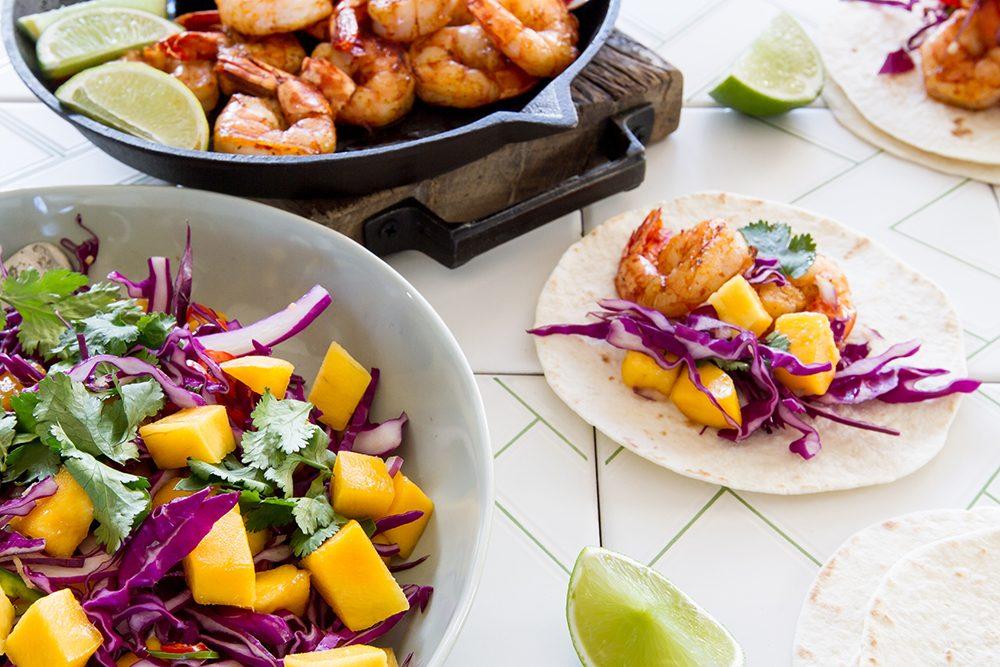Prawn Tacos with Mango Slaw