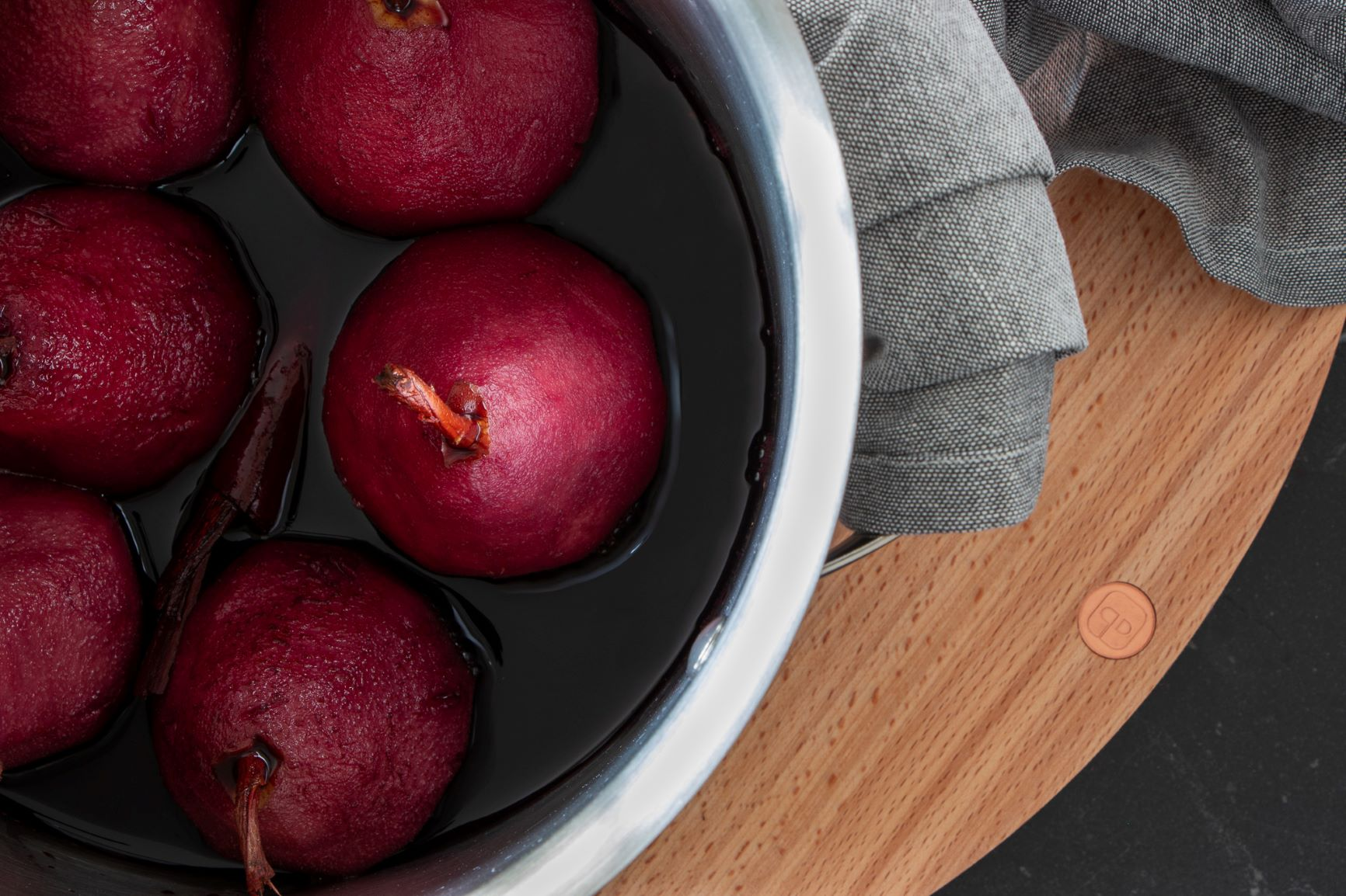 Mandarin Red Wine Poached Pears