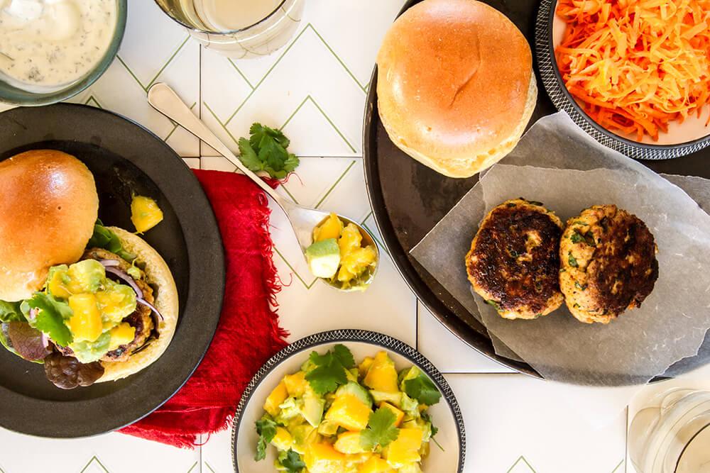 Indian Chicken Burgers with Mango Avocado Smash